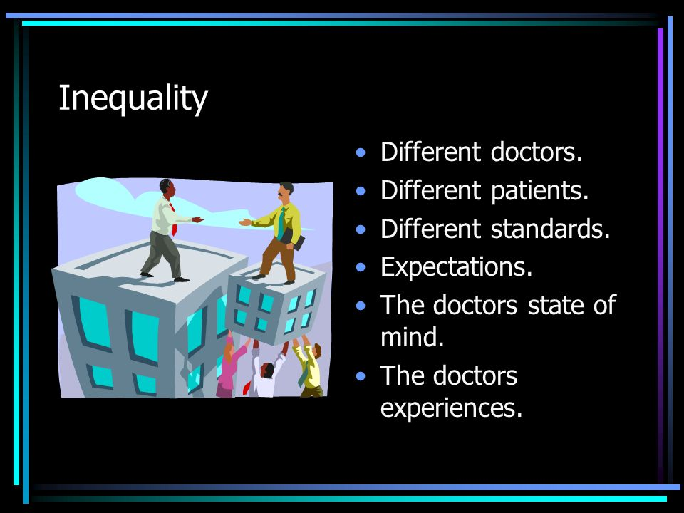 Inequality Different doctors. Different patients. Different standards.