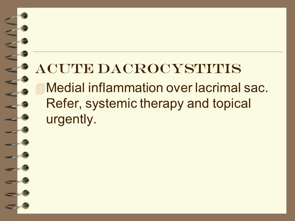 Acute dacrocystitis Medial inflammation over lacrimal sac.
