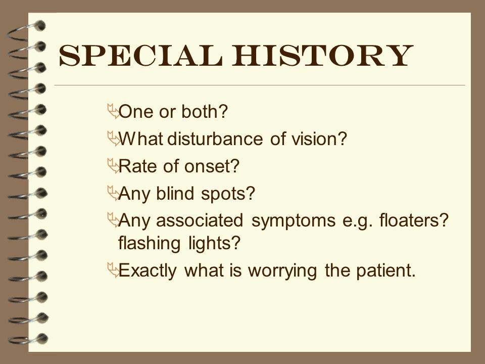 Special history One or both What disturbance of vision