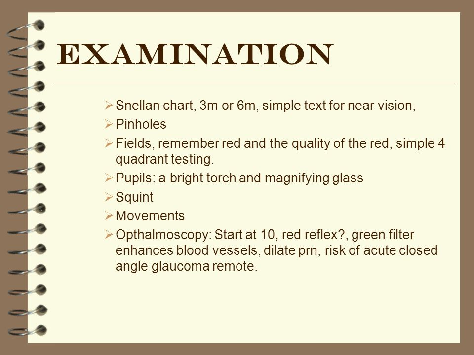 Examination Snellan chart, 3m or 6m, simple text for near vision,