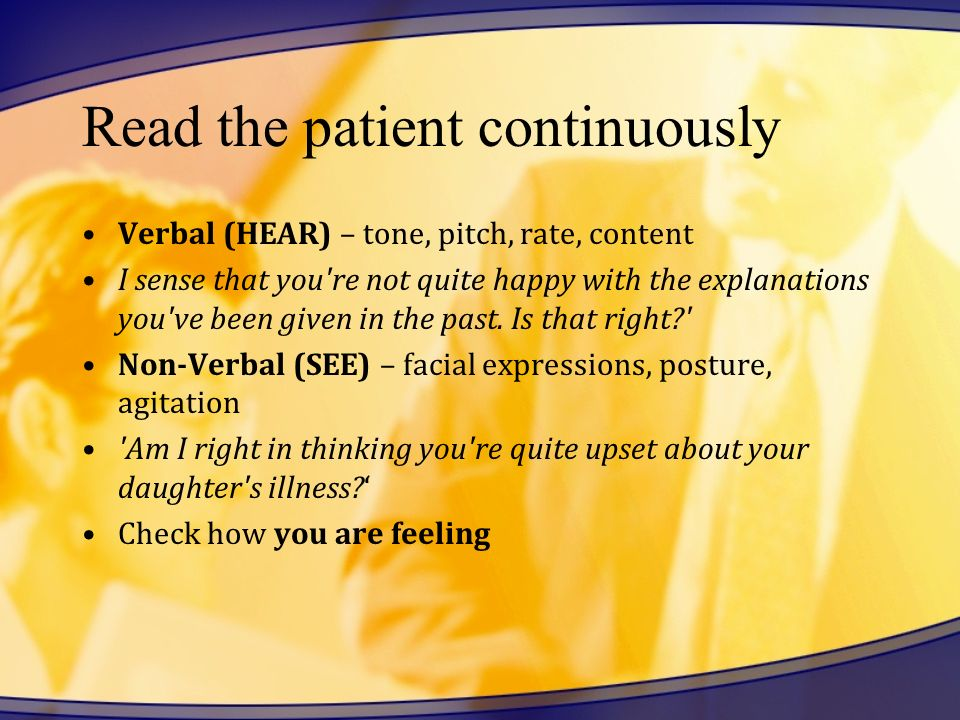 Read the patient continuously
