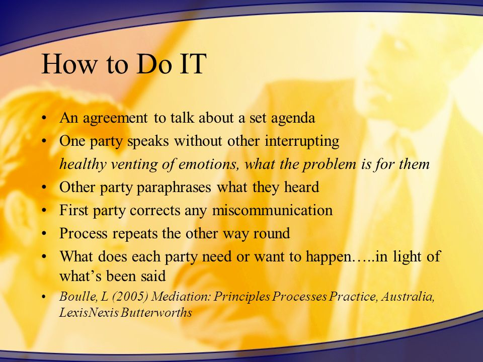 How to Do IT An agreement to talk about a set agenda