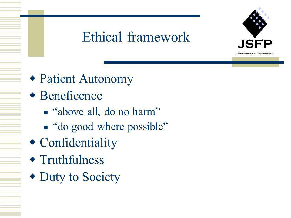 Ethical framework Patient Autonomy Beneficence Confidentiality