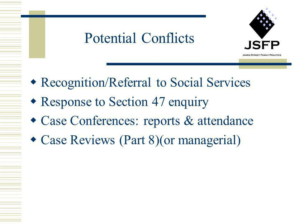 Potential Conflicts Recognition/Referral to Social Services