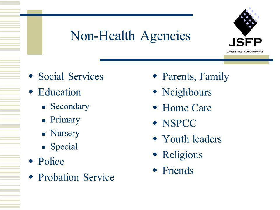 Non-Health Agencies Social Services Education Police Probation Service