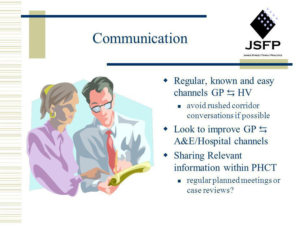 Communication Regular, known and easy channels GP ⇆ HV