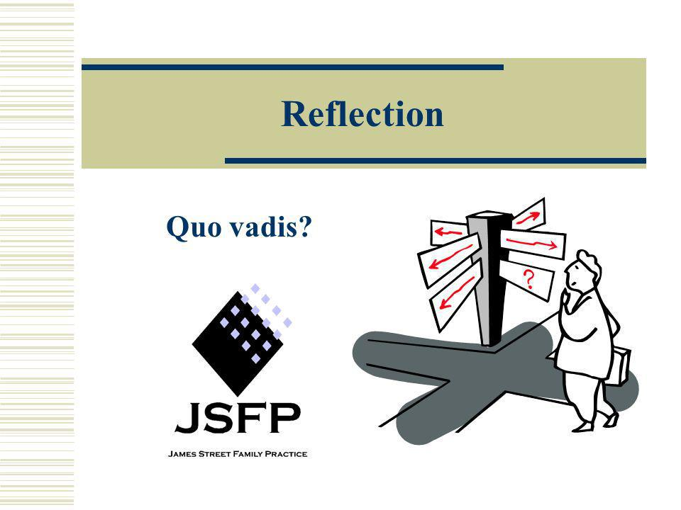 Reflection Quo vadis So, how does what you've learned today change your practice Is there someone who would benefit from sharing the knowledge