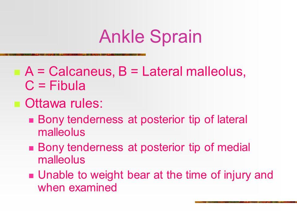 Ankle Sprain A = Calcaneus, B = Lateral malleolus, C = Fibula