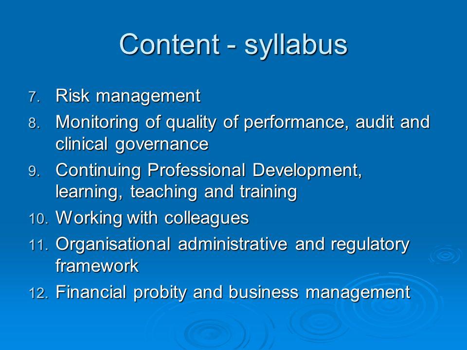 Content - syllabus Risk management