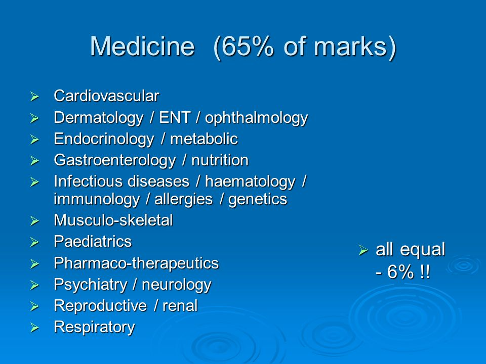 Medicine (65% of marks) all equal - 6% !! Cardiovascular