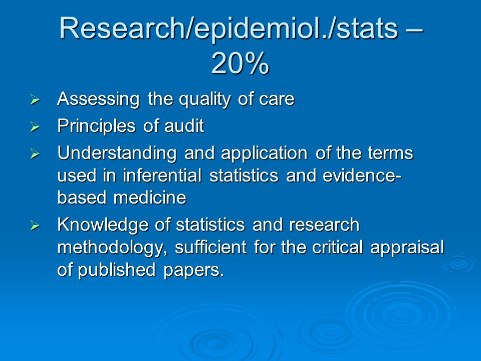 Research/epidemiol./stats – 20%