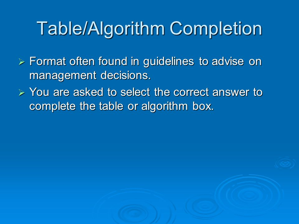 Table/Algorithm Completion