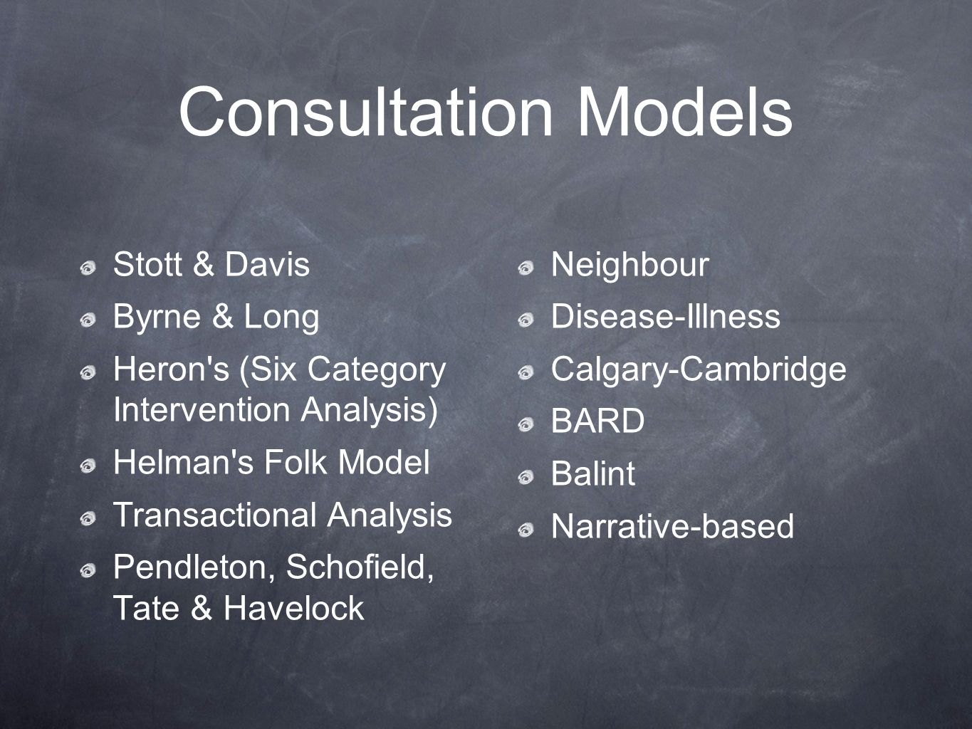 Consultation Models Stott & Davis Neighbour Byrne & Long