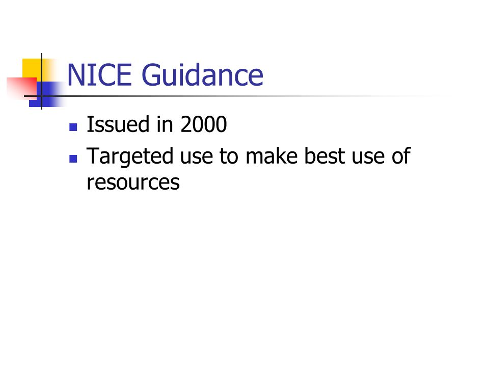 NICE Guidance Issued in 2000