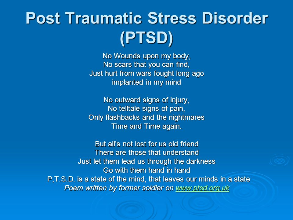 an analysis of post traumatic stress disorder in wars past and wars present by lady borton Psychological therapies for chronic post-traumatic stress disorder european journal of psychotraumatology as a result of traumatic events, including war.