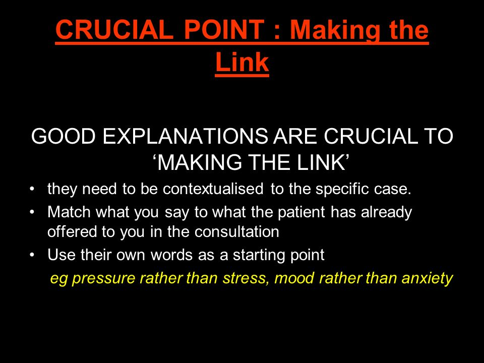 CRUCIAL POINT : Making the Link