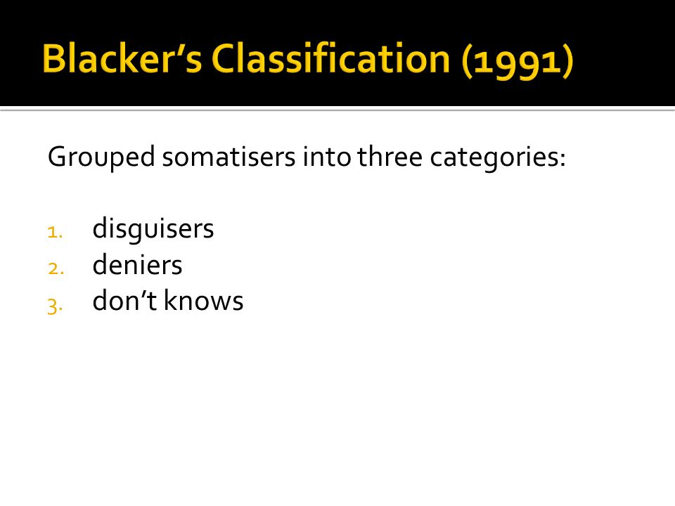 Blacker's Classification (1991)