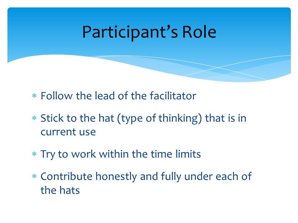 Participant's Role Follow the lead of the facilitator