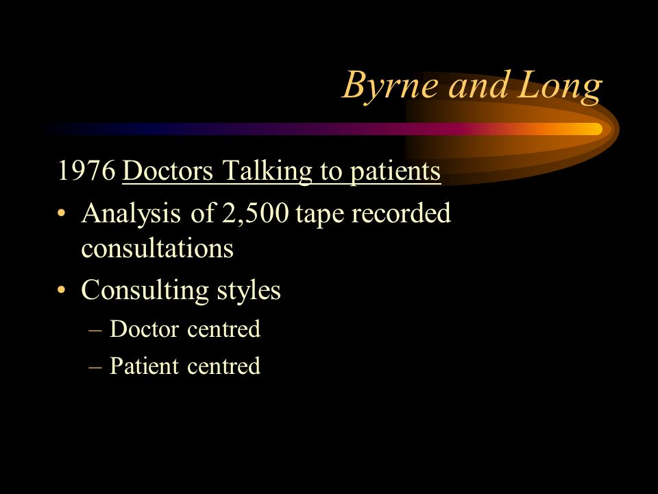 Byrne and Long 1976 Doctors Talking to patients