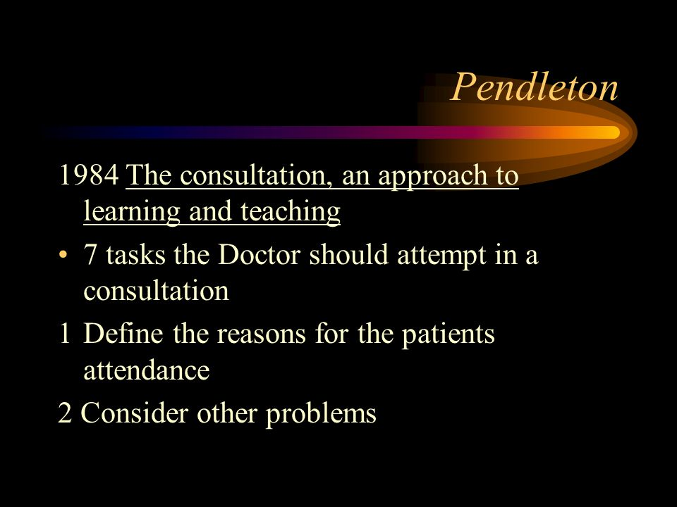 Pendleton 1984 The consultation, an approach to learning and teaching
