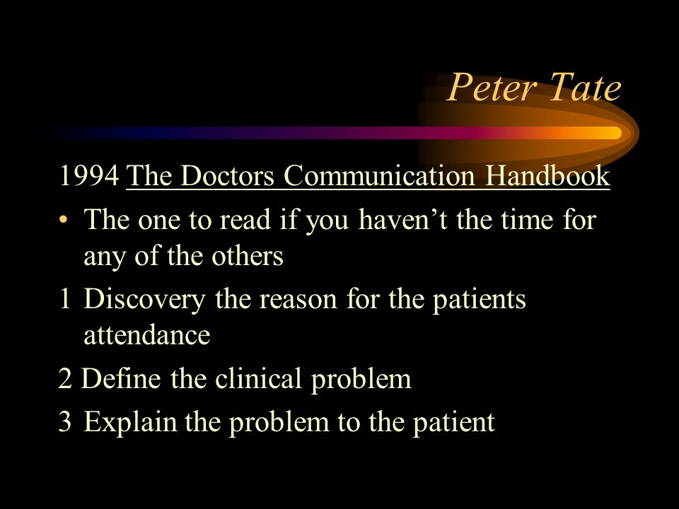 Peter Tate 1994 The Doctors Communication Handbook