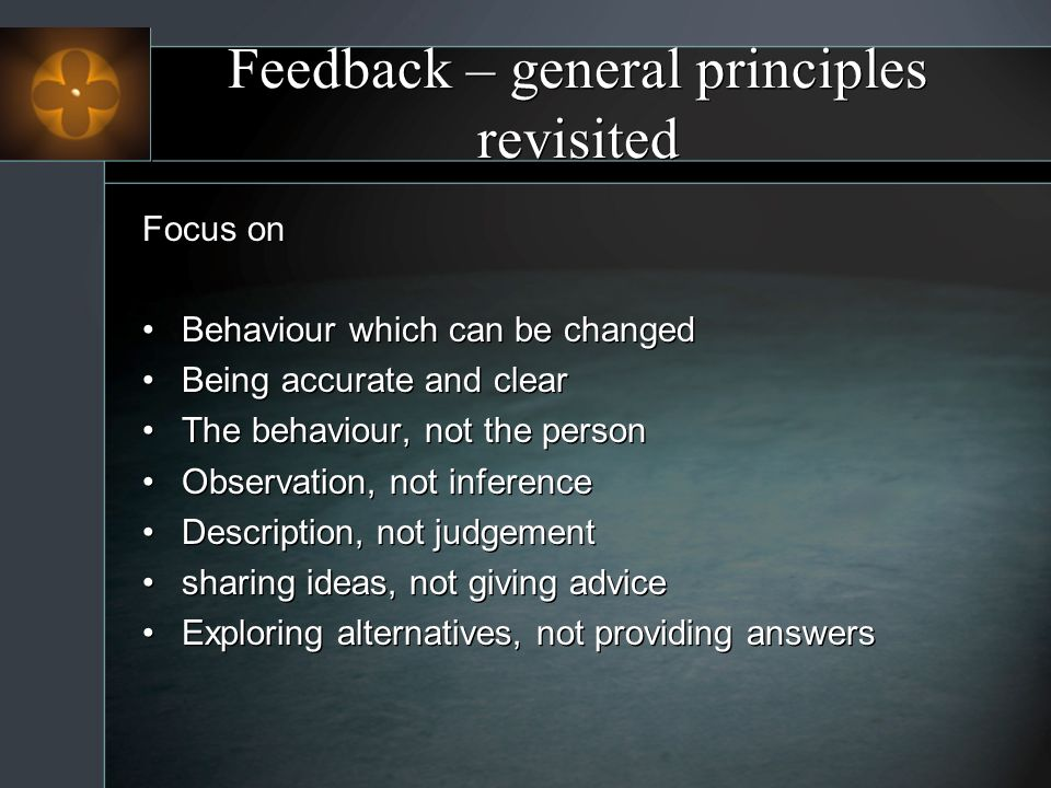 Feedback – general principles revisited