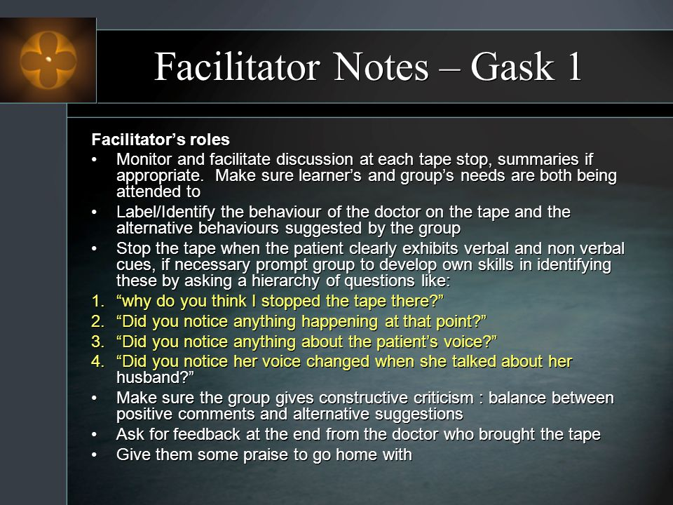 Facilitator Notes – Gask 1