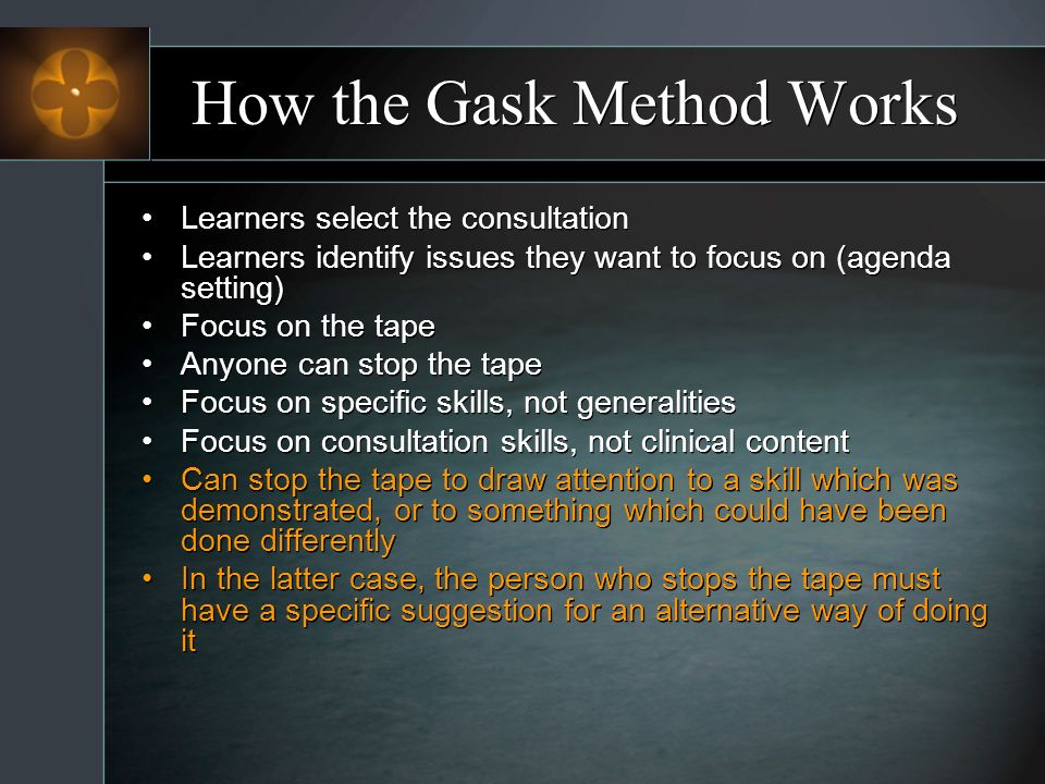 How the Gask Method Works