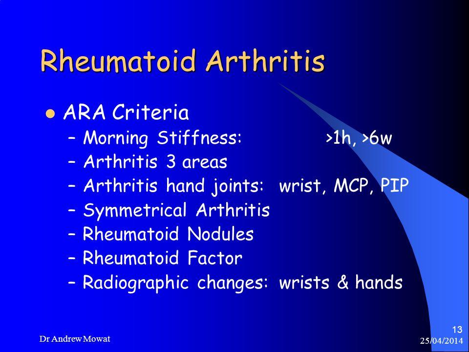 Rheumatoid Arthritis ARA Criteria Morning Stiffness: >1h, >6w