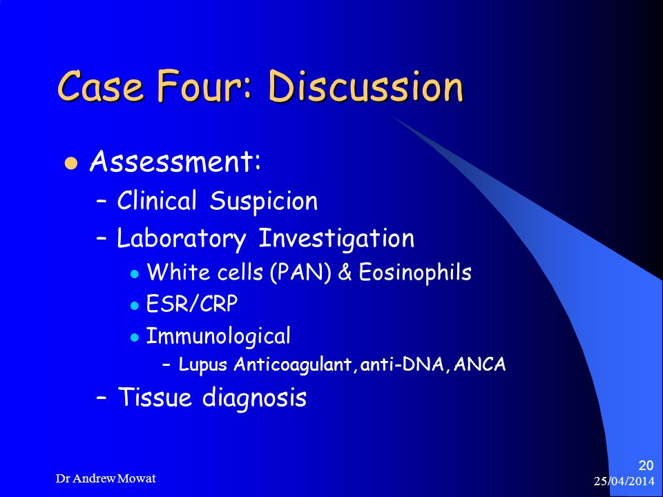 Case Four: Discussion Assessment: Clinical Suspicion