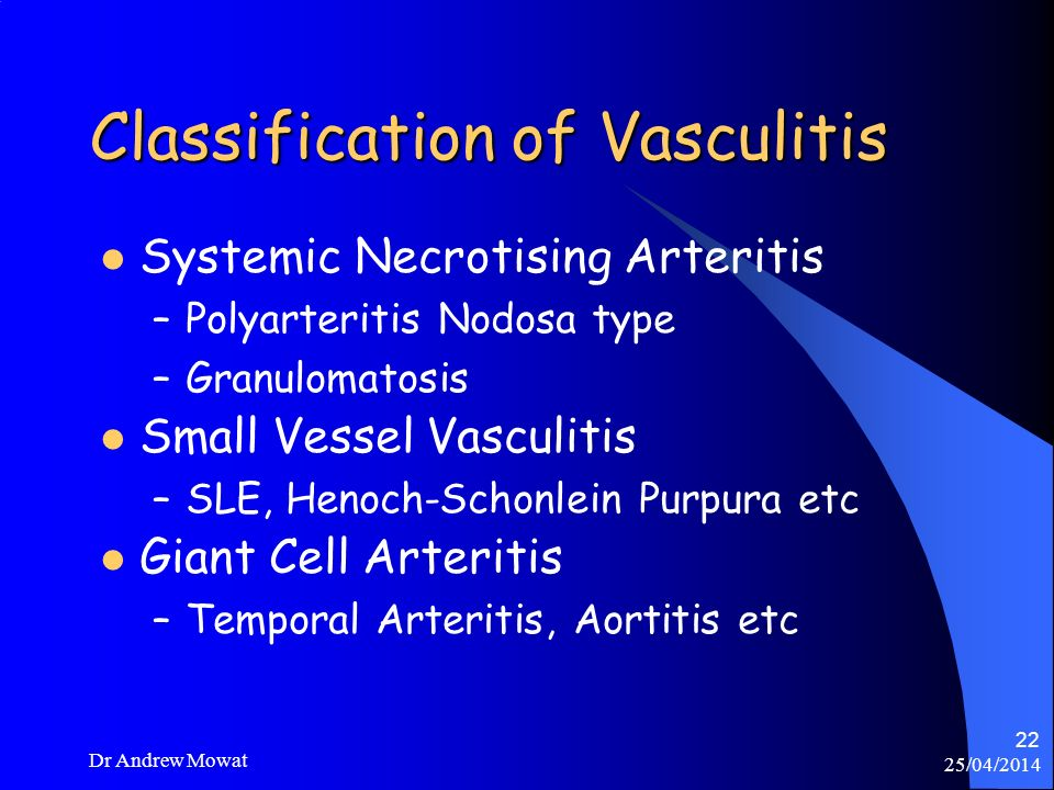 Classification of Vasculitis