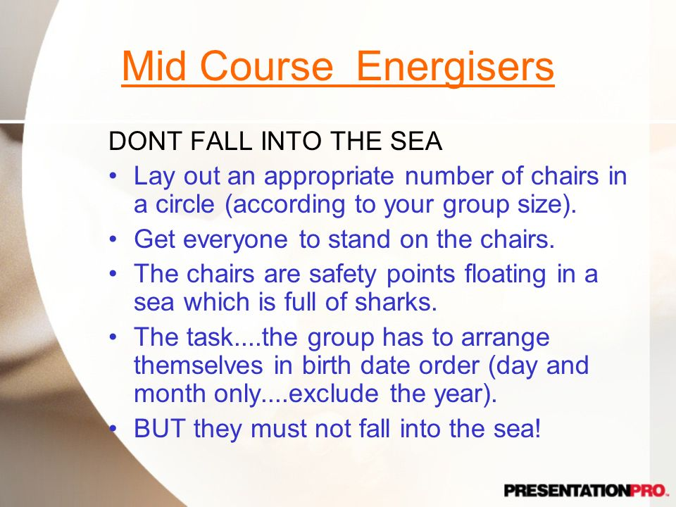 Mid Course Energisers DONT FALL INTO THE SEA