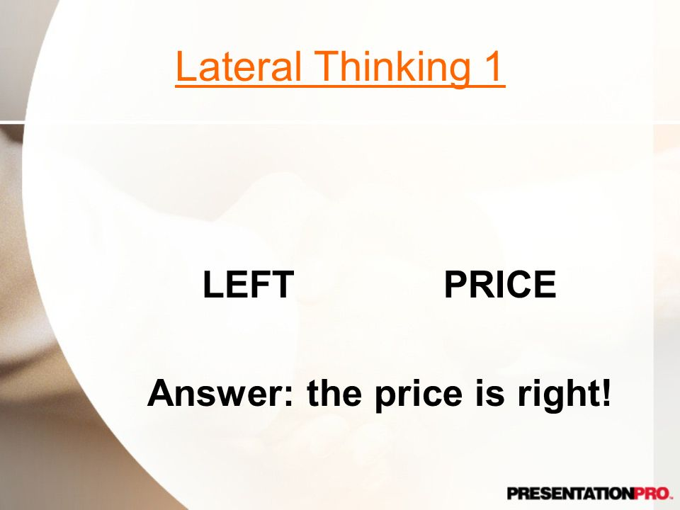 Answer: the price is right!