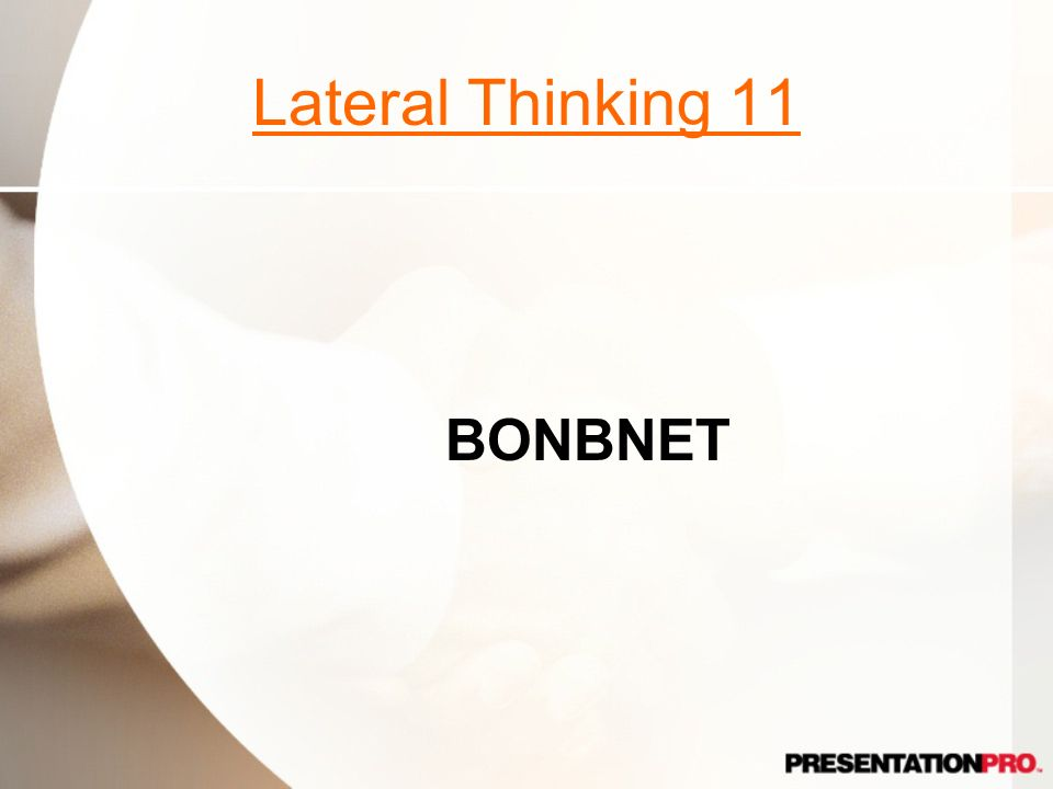 Lateral Thinking 11 BONBNET B in a Bonnet