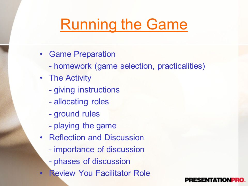 Running the Game Game Preparation