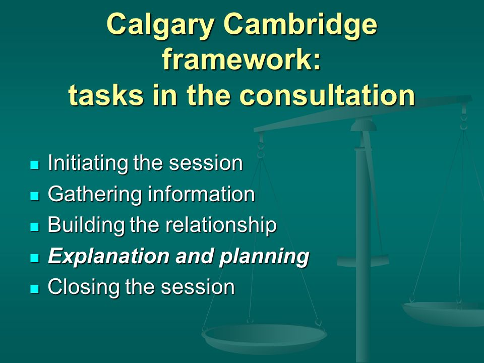 Calgary Cambridge framework: tasks in the consultation
