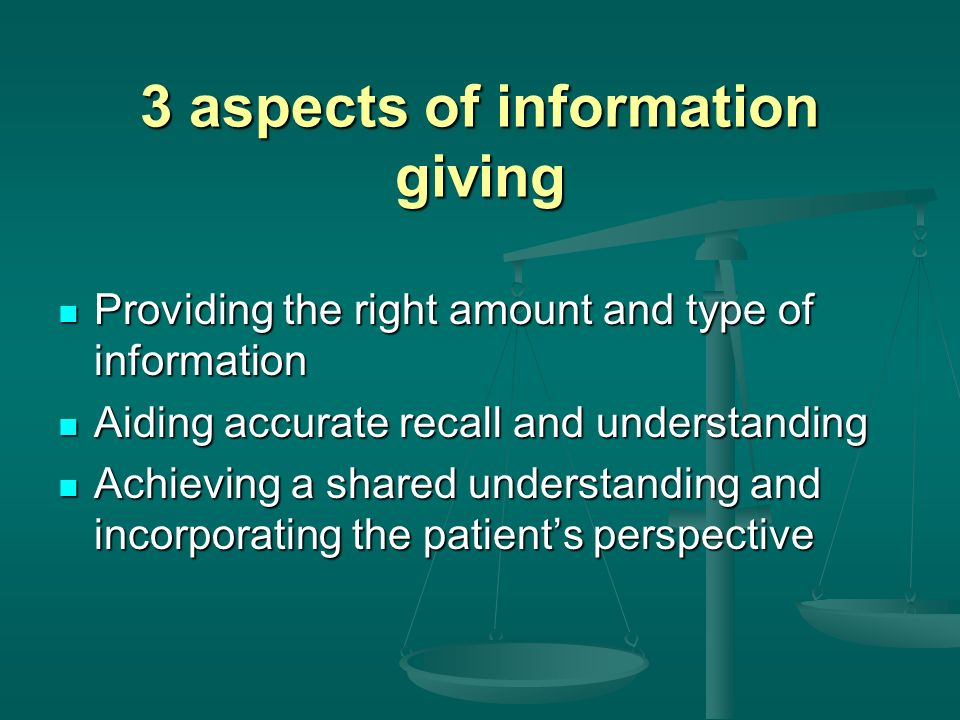 3 aspects of information giving