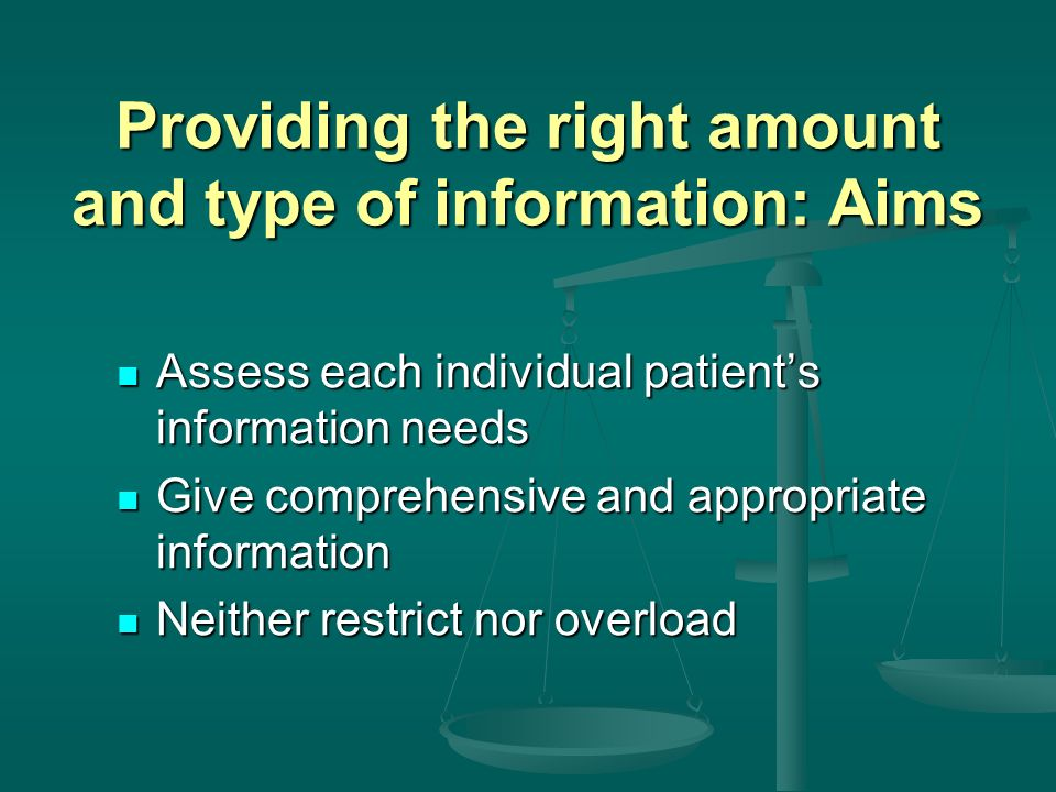Providing the right amount and type of information: Aims