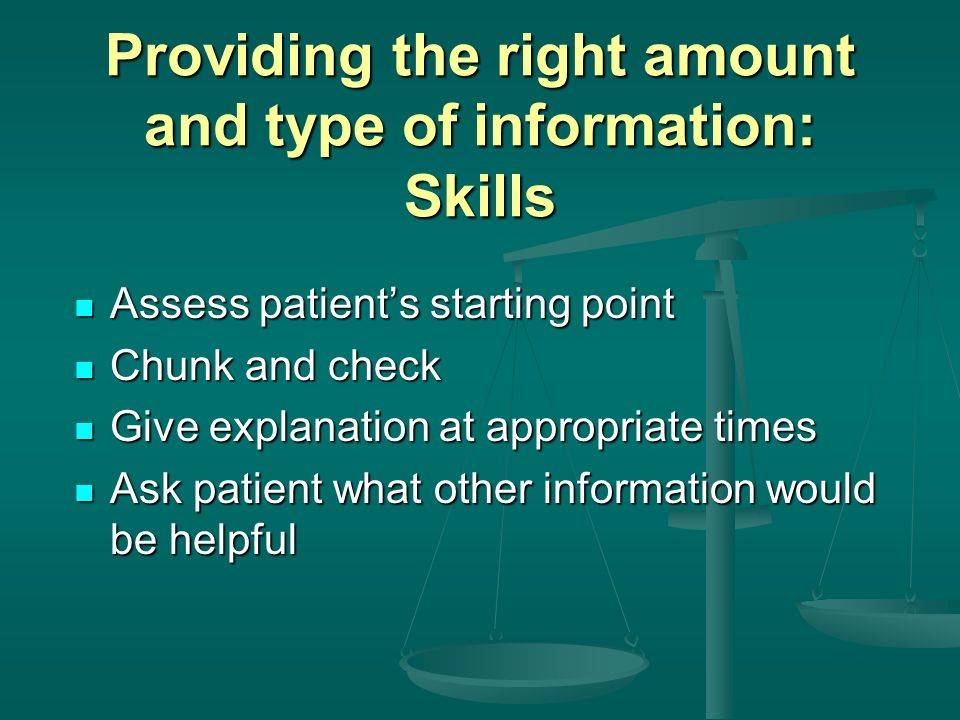Providing the right amount and type of information: Skills
