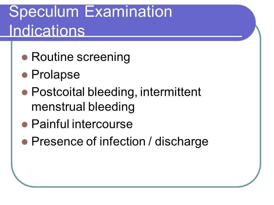 Speculum Examination Indications
