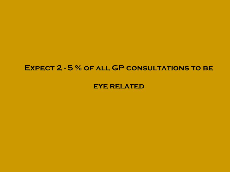 Expect 2 - 5 % of all GP consultations to be eye related