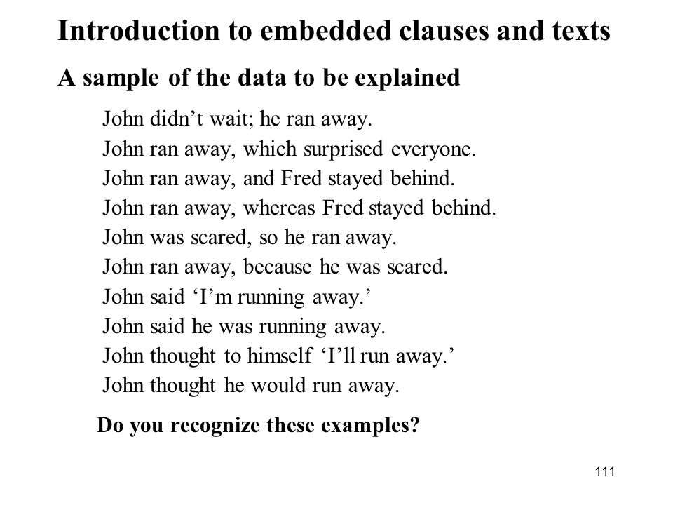 Introduction to embedded clauses and texts