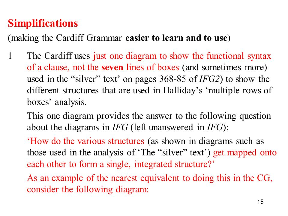 Simplifications (making the Cardiff Grammar easier to learn and to use)