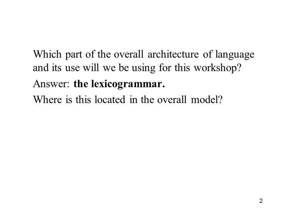Which part of the overall architecture of language and its use will we be using for this workshop