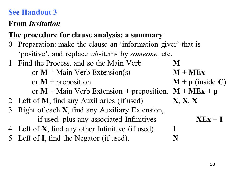 See Handout 3 From Invitation The procedure for clause analysis: a summary 0 Preparation: make the clause an 'information giver' that is 'positive', and replace wh-items by someone, etc.