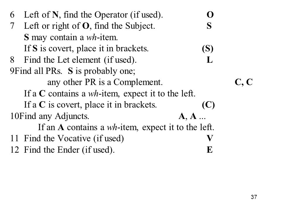 6 Left of N, find the Operator (if used). O