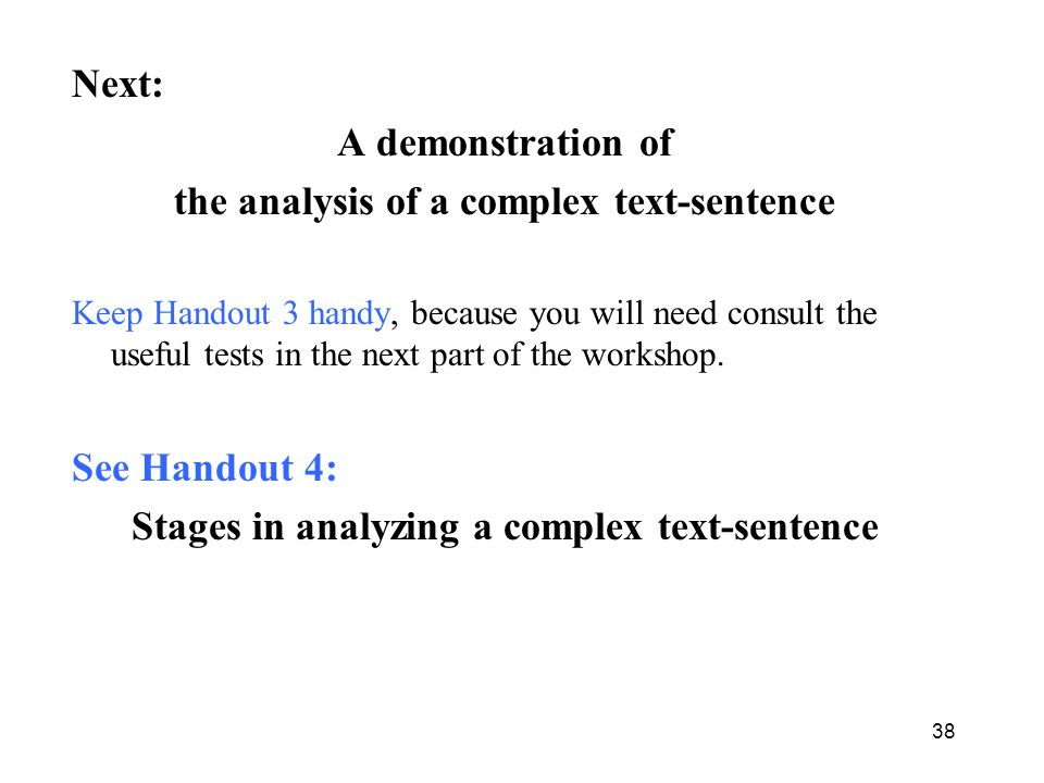 the analysis of a complex text-sentence
