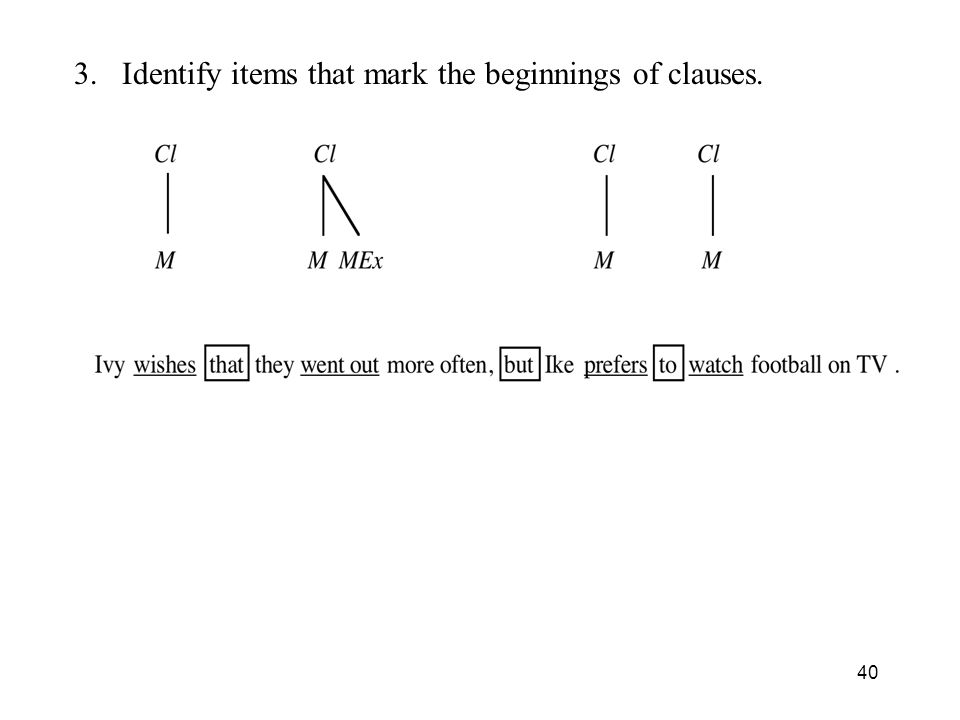 3. Identify items that mark the beginnings of clauses.