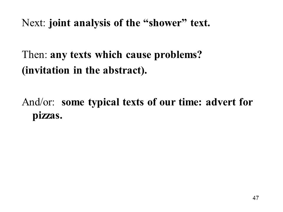Next: joint analysis of the shower text