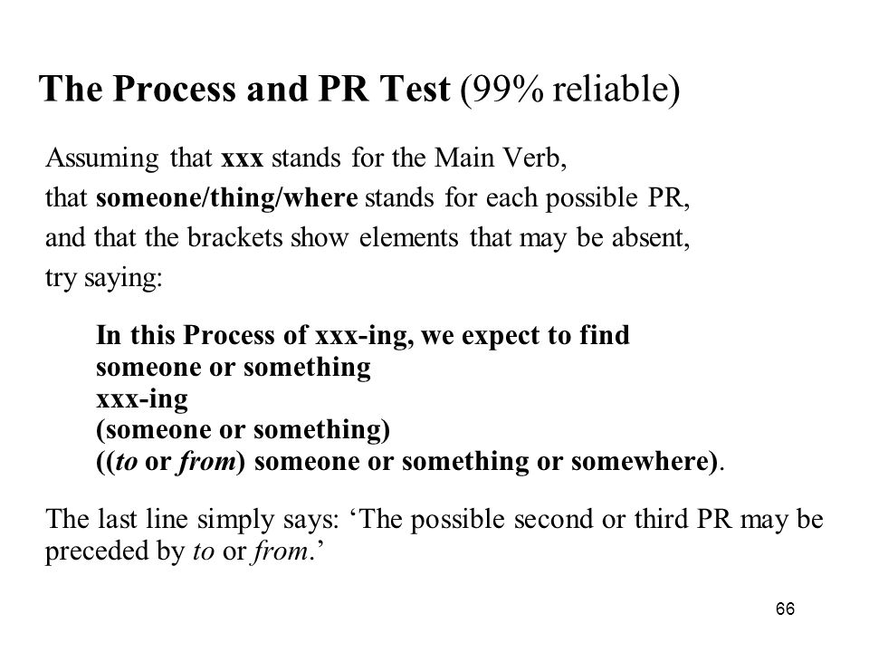 The Process and PR Test (99% reliable)